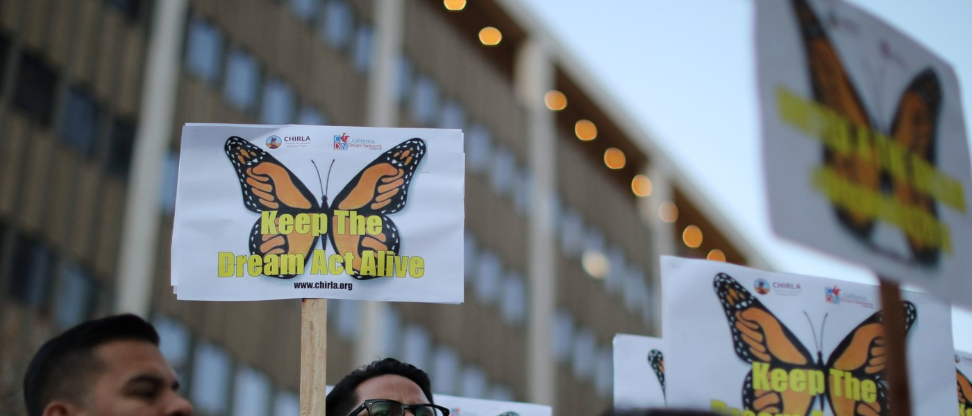 People protest for immigration reform for DACA recipients in Los Angeles, California