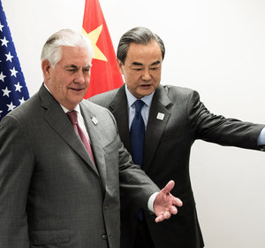 Secretary of State Rex Tillerson and China's Foreign Minister Wang Yi. REUTERS/Brendan Smialowski