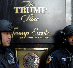 NYPD officers guarding the entrance to Trump Tower. REUTERS/Darren Ornitz