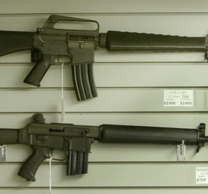 Assault-style rifles on display. REUTERS/Jeff Mitchell