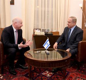 Jason Greenblatt, U.S. President Donald Trump's Middle East envoy meets Israeli Prime Minister Benjamin Netanyahu. Matty Stern/U.S. Embassy Tel Aviv/Handout via REUTERS