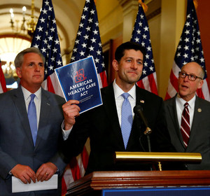 House Majority Leader Kevin McCarthy, House Speaker Paul Ryan, and Representative Greg Walden at a news conference in Washington. REUTERS/Eric Thayer