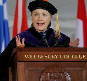Hillary Clinton speaks at Wellesley College. REUTERS/Brian Snyder