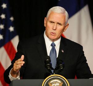 U.S. Vice President Mike Pence speaks with Latin American organizations in Chile. REUTERS/Rodrigo Garrido