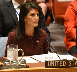 U.S. Ambassador to the United Nations Nikki Haley delivers remarks at a security council meeting at U.N. headquarters. REUTERS/Stephanie Keith