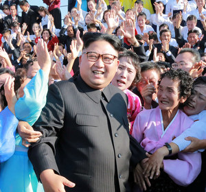 North Korean leader Kim Jong Un meets supporters in this undated photo released by North Korea's Korean Central News Agency (KCNA) in Pyongyang September 12, 2017. REUTERS/KCNA