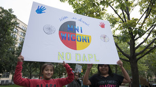 Protesters show their solidarity with the Standing Rock Sioux Nation