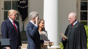 President Donald Trump, Supreme Court Justices Neil Gorsuch, Anthony Kennedy