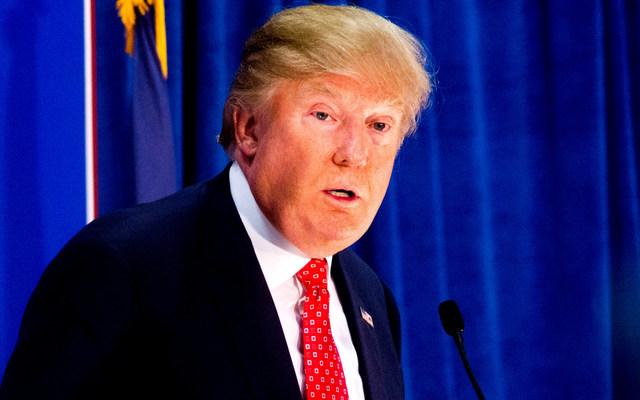 Donald Trump giving a campaign speech