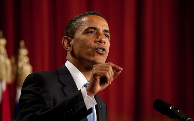 President Barack Obama speaking at Cairo University in 2009