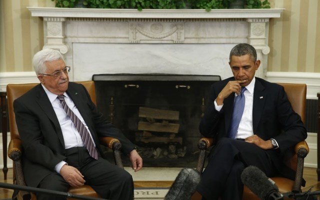 Obama meets with Palestinian Authority President Mahmoud Abbas at the White House. REUTERS/Kevin Lamarque