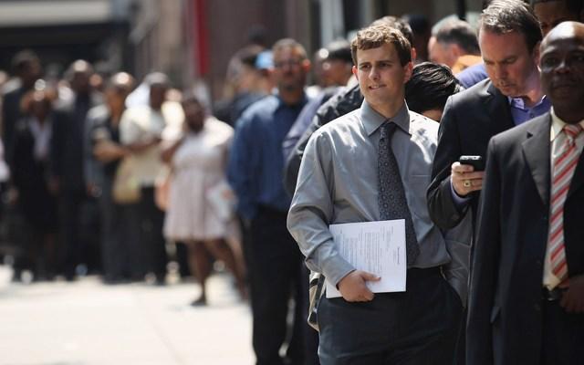 Job applicants in line at a job fair
