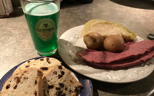 """A """"traditional"""" Irish-American meal, including corned beef and cabbage. REUTERS/Theopolis Waters"""