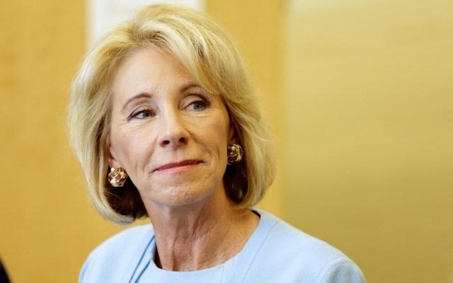 Secretary of Education Betsy DeVos at a presentation in a Washington charter school. REUTERS/Joshua Roberts