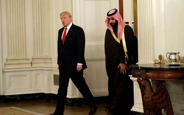 U.S. President Donald Trump and Saudi Deputy Crown Prince and Minister of Defense Mohammed bin Salman at the White House. REUTERS/Kevin Lamarque