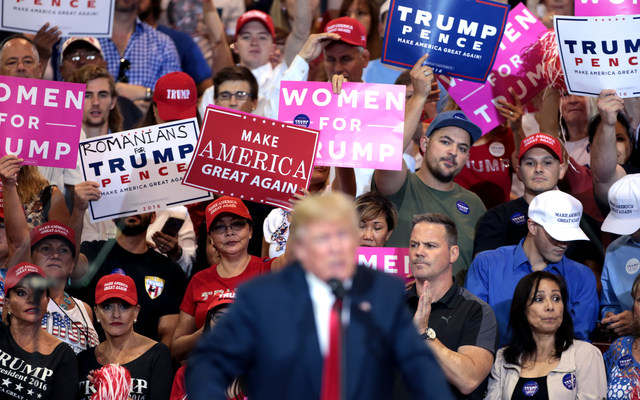 Then candidate for president, Donald Trump, speaking at a campaign rally.