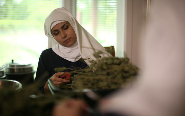 India Delgado, who goes by the name Sister Eevee, trims hemp in the kitchen at Sisters of the Valley. REUTERS/Lucy Nicholson