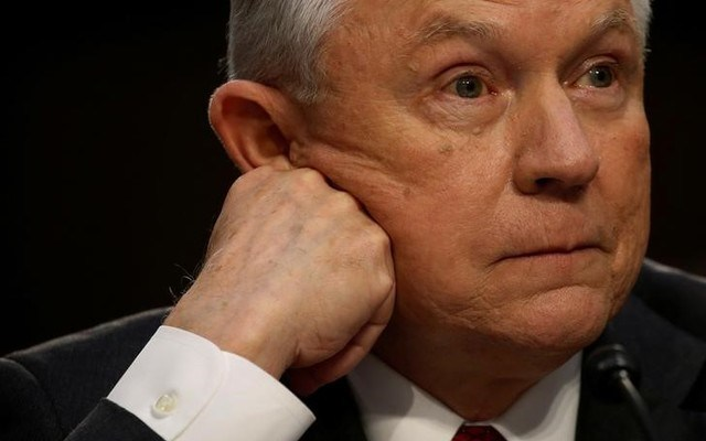 Attorney General Jeff Sessions waits before a Senate Intelligence Committee meeting. REUTERS/Jonathan Ernst