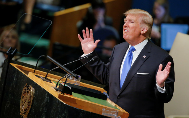 U.S. President Donald Trump addresses the 72nd United Nations General Assembly at U.N. headquarters in New York, U.S. REUTERS/Eduardo Munoz