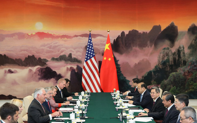 U.S. Secretary of State Rex Tillerson meeting with Chinese Foreign Minister Wang Yi at the Great Hall of the People on September 30, 2017 in Beijing, China. REUTERS/Lintao Zhang