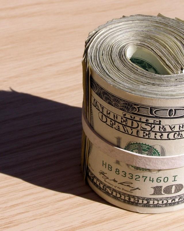 Rolled 100 Dollar Bills