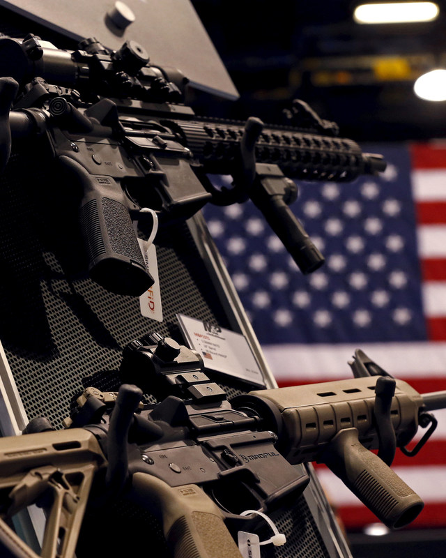 An exhibit booth for firearms manufacturer Smith & Wesson is seen on display in Chicago, IL. REUTERS/Jim Young/File Photo