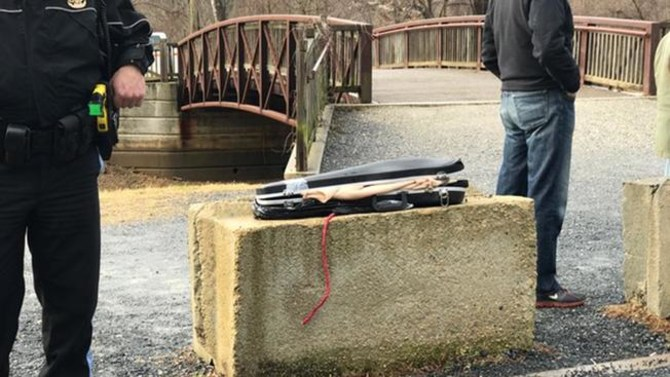 A violin case with guns inside was found near the Potomac River in Washington, DC