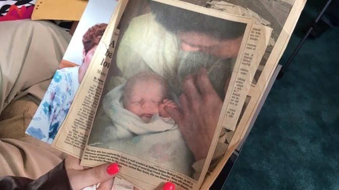 newspaper stories from when Morgan was rescued as a baby
