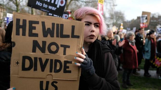 Trump protester in the U.K.