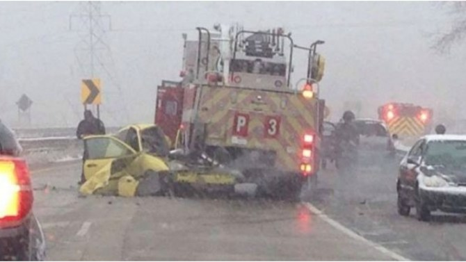Molina's family's car after their accident