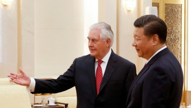 U.S. Secretary of State Rex Tillerson meets China's President Xi Jinping. REUTERS/Thomas Peter