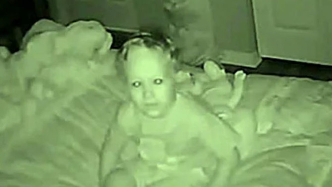 Sarah and Jay's son on their baby monitor