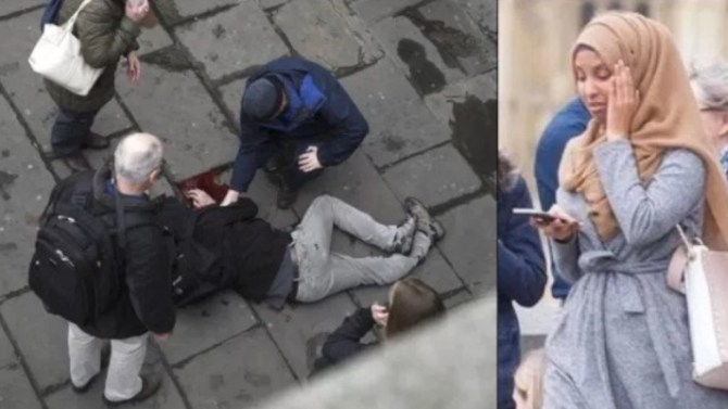 Photo of woman in hijab passing attack victim on bridge 'misappropriated'