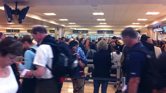 Immigration line at airport