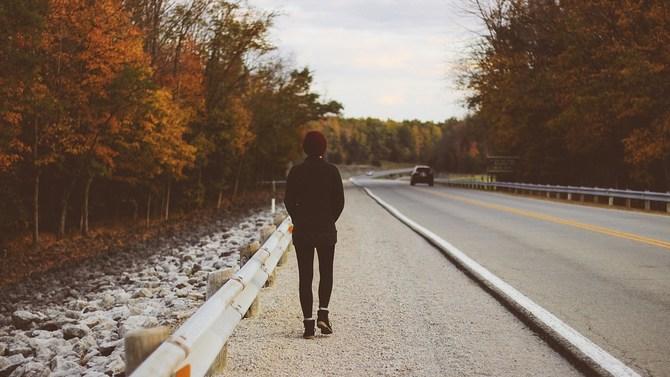 walking along the road