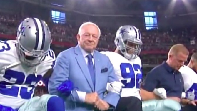 Arthur Blank and Jerry Jones avoid each other before teams play