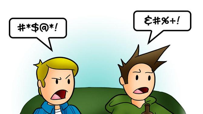 Two boys swearing