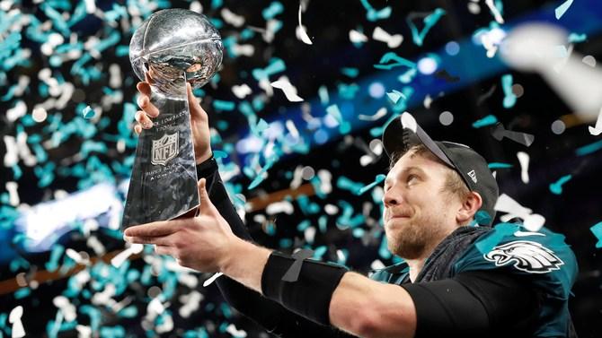 Philadelphia Eagles player Nick Foles with Superbowl LII Trophy